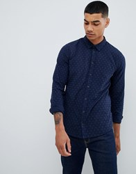 Blend Of America Slim Fit Shirt With Micro Dot Print Navy