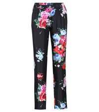 Dolce And Gabbana Printed Silk Trousers Black