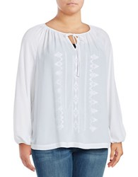 Lord And Taylor Plus Embroidered Peasant Blouse White