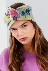 Urban Outfitters Twist Front Jacquard Headwrap Neutral Multi