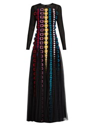 Mary Katrantzou Bayley Floral Applique Chiffon Gown Black Multi