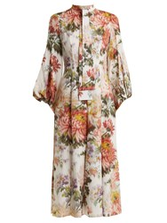 Andrew Gn Floral Print Puff Sleeved Silk Dress Multi