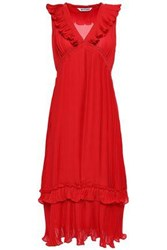 W118 By Walter Baker Woman Ruffle Trimmed Pleated Crepe Midi Dress Red
