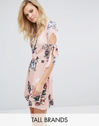 Oh My Love Tall Plunge Tea Dress With Tie Sleeves In Floral Print Pink Vintage Floral