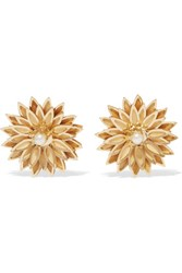 Dolce And Gabbana Gold Tone Faux Pearl Clip Earrings One Size