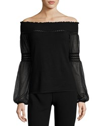 Elie Tahari Rita Off The Shoulder Merino Sweater Black