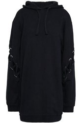Each X Other Lace Up French Cotton Terry Hooded Sweatshirt Black