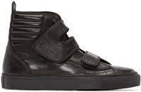 Raf Simons Black Leather Velcro High Top Sneakers