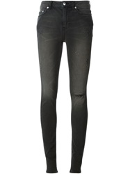 Blk Dnm Distressed Skinny Jeans Grey