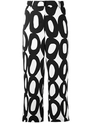 Max Mara 'S Geometric Print Cropped Trousers Black