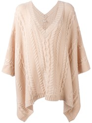 Agnona Cable Knit Poncho Pink Purple