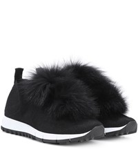 Jimmy Choo Norway Fur Trimmed Sneakers Black