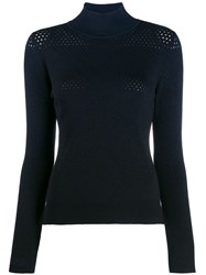 Fendi Perforated Knitted Sweater Blue