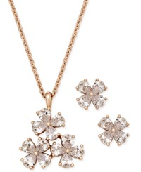 Charter Club Rose Gold Tone Crystal Flower Pendant Necklace And Stud Earrings Set Only At Macy's
