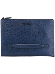 Salvatore Ferragamo Textured Leather Clutch Bag Blue