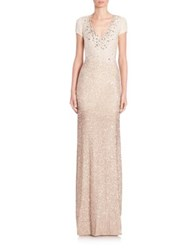 Pamella Roland Signature Sequin Cap Sleeve Gown Gold