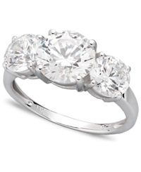 Arabella 14K White Gold Ring Swarovski Zirconia Three Stone Ring 6 1 5 Ct. T.W.