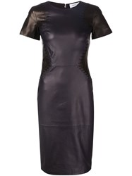 Prabal Gurung Leather Panel Shortsleeved Dress Black