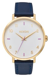 Nixon Women's The Arrow Leather Strap Watch 38Mm Navy White Gold