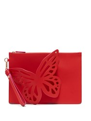 Sophia Webster Flossy Butterfly Leather Clutch Pink