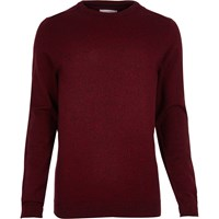 River Island Mensred Crew Neck Sweater