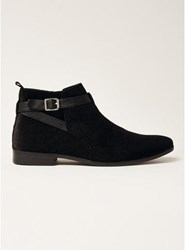 Topman Black Faux Suede Fisco Buckle Boots