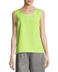 Caroline Rose Scoop Neck Shantung Tank Lime