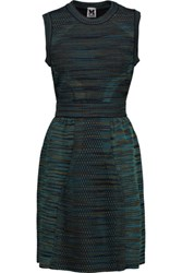 M Missoni Flared Textured Stretch Knit Mini Dress Black