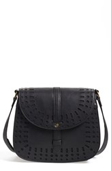 Dirty Ballerina Perforated Faux Leather Saddle Crossbody Bag