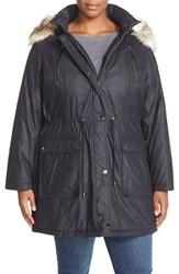 Plus Size Women's Laundry By Shelli Segal Faux Fur Trim Parka Deep Navy