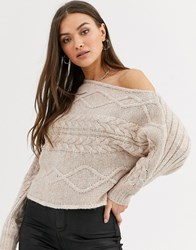 River Island Cable Knit Asymmetric Sweater In Beige
