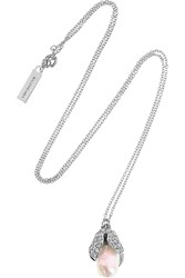 Balenciaga Holiday Collection Eugenia Silver Tone Pearl And Crystal Pendant Necklace