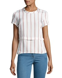Veronica Beard Short Sleeve Striped Poplin Tee White White Pattern