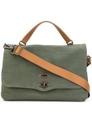 Zanellato Postina Tote Men Leather Canvas One Size Green