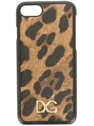 Dolce And Gabbana Leopard Print Iphone 7 Case Brown