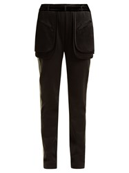 Valentino Exposed Pocket Silk Blend Trousers Black Green