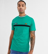 Ellesse Tall Lamora Stripe T Shirt With Rib Neck In Green Exclusive At Asos