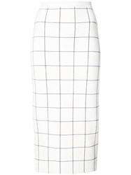 Victoria Beckham Check Pencil Skirt Women Polyamide Spandex Elastane Wool 3 White