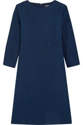 A.P.C. Atelier De Production Et De Creation Cotton And Linen Blend Chambray Dress Navy