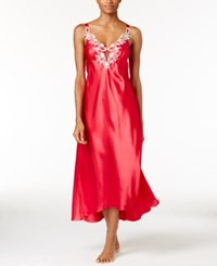 Flora Nikrooz By Stella Satin Venise Trim Nightgown Crimson