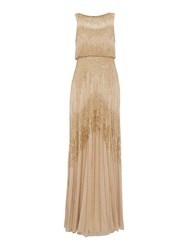 Adrianna Papell Gold Mesh Beaded Gown Gold