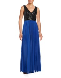 Nicole Miller New York Deep V Accented A Line Pleated Gown Black Royal