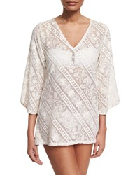 Letarte Mystique Embroidered Tunic Coverup Pearl