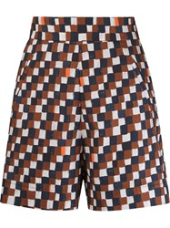 Andrea Marques Geometric Print High Waisted Short Brown