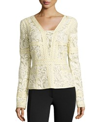 J. Mendel Long Sleeve Floral Lace Top Soleil