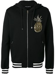 Dolce And Gabbana Pineapple Patch Zip Hoodie Black