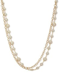 Anne Klein 8 10Mm Simulated Pearl Two Row Necklace Gold