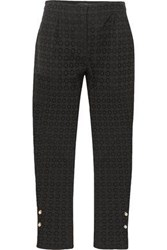 Mother Of Pearl Embellished Broderie Anglaise Cotton Straight Leg Pants Black