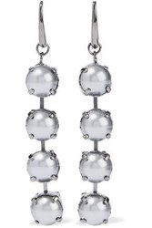 Valentino Gunmetal Tone Faux Pearl Earrings Gunmetal