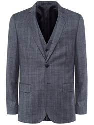 Jaeger Prince Of Wales Check Slim Fit Suit Jacket Grey